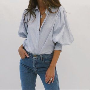 Something Navy Striped Puff Sleeve Blouse Size XS